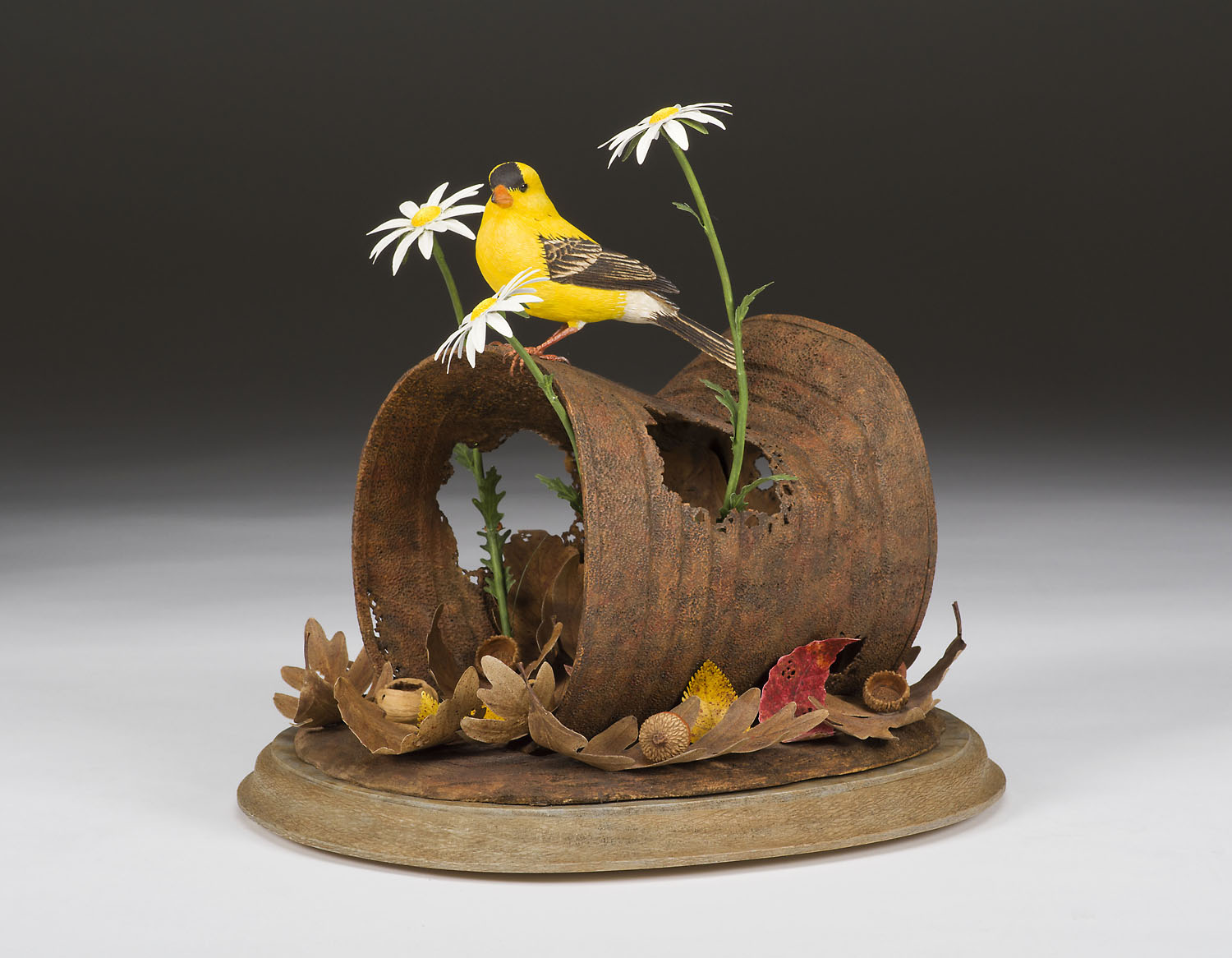 Pete Lupo - Wildlife Artist - Fragile World - Goldfinch, Chipmunk and Rusty Can