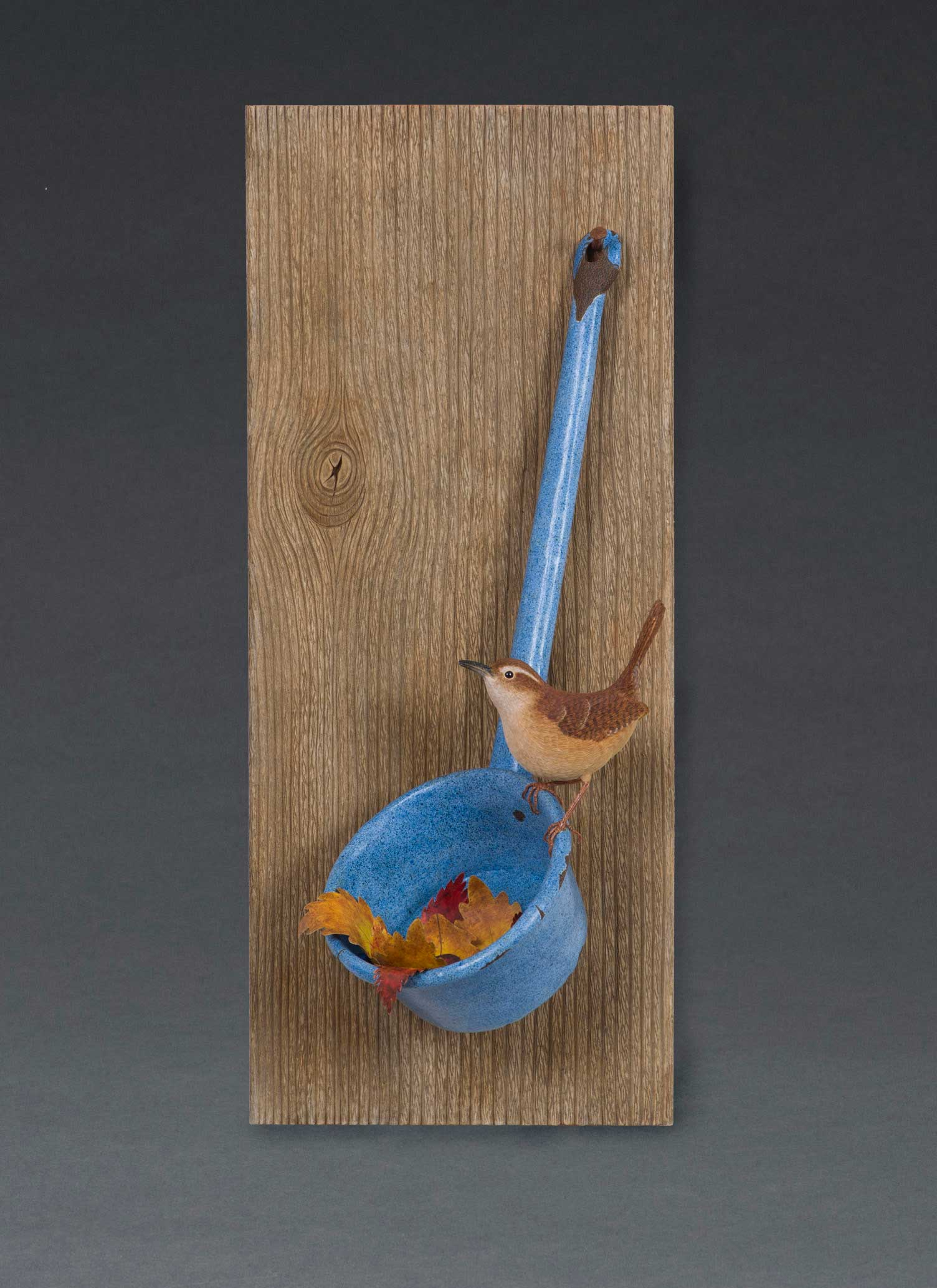 photo of Pete Lupo's Artwork - Carolina Wren sitting on an old water dipper