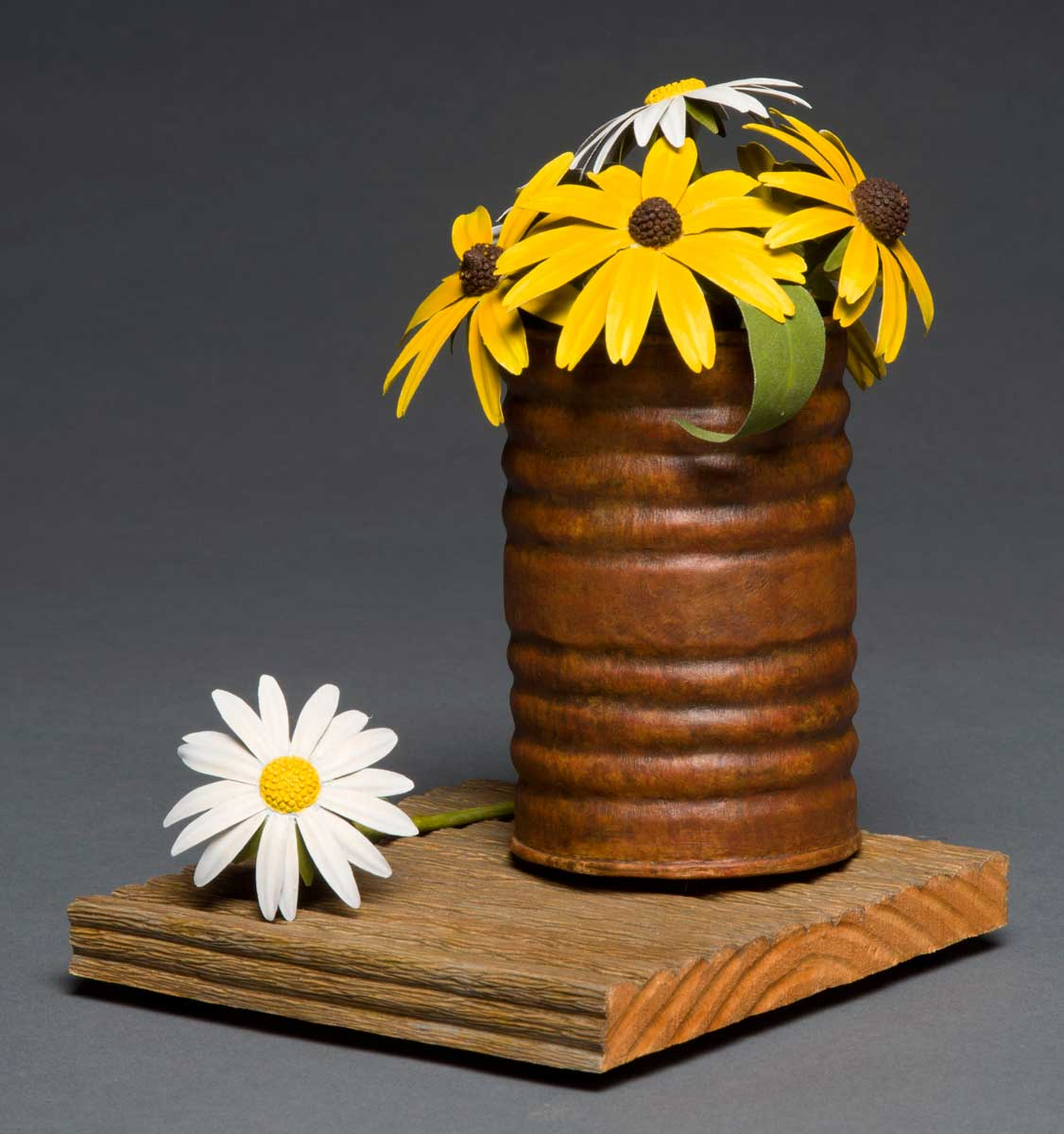 photo of Pete Lupo's Artwork - Front View of Wildflowers in a rusty looking can