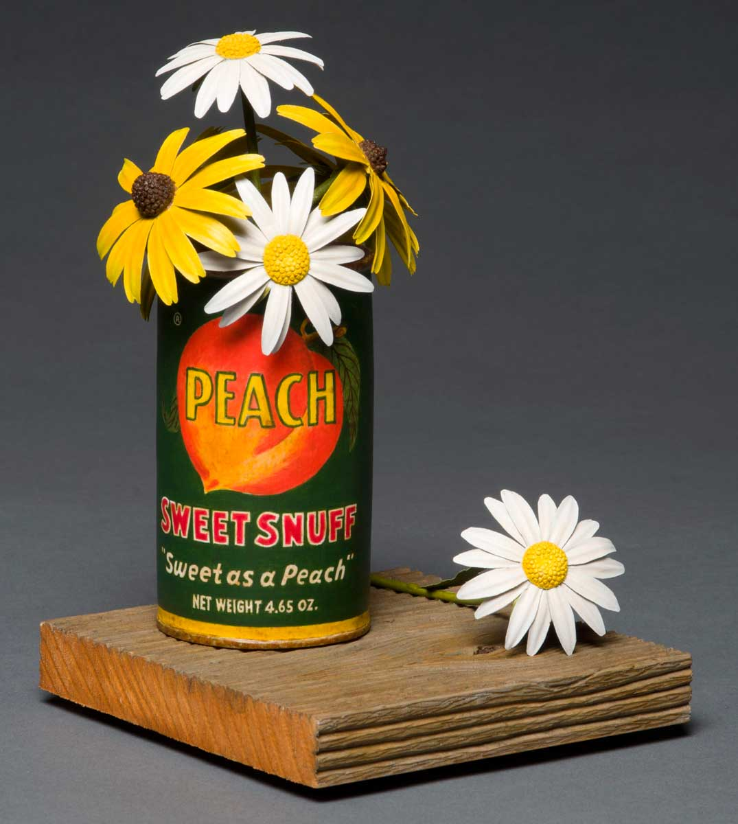 photo of Pete Lupo's Artwork - Front View of Wildflowers in a Peach snuff can
