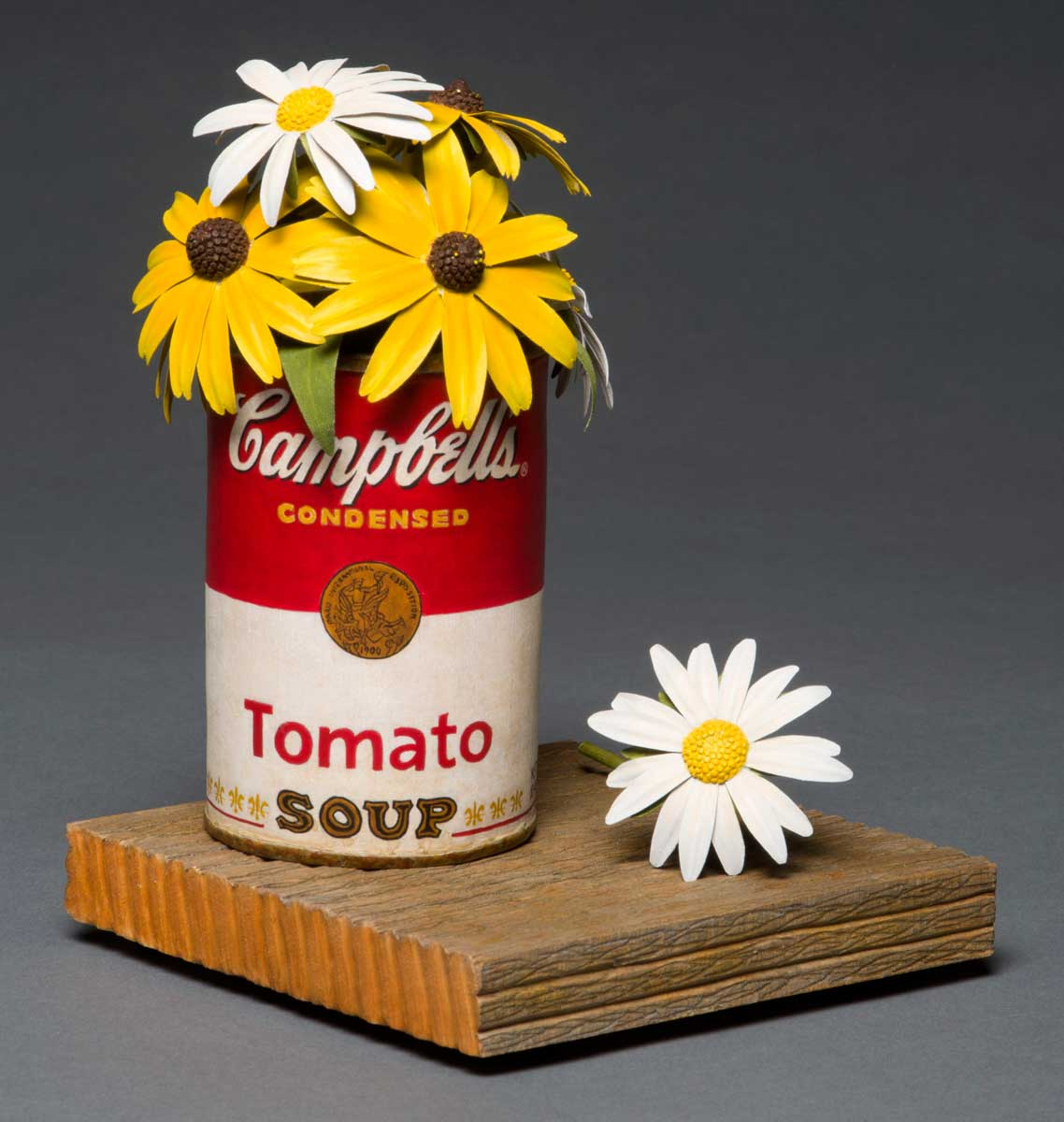 photo of Pete Lupo's Artwork - Front View of Wildflowers in a Campbell's Tomato soup can
