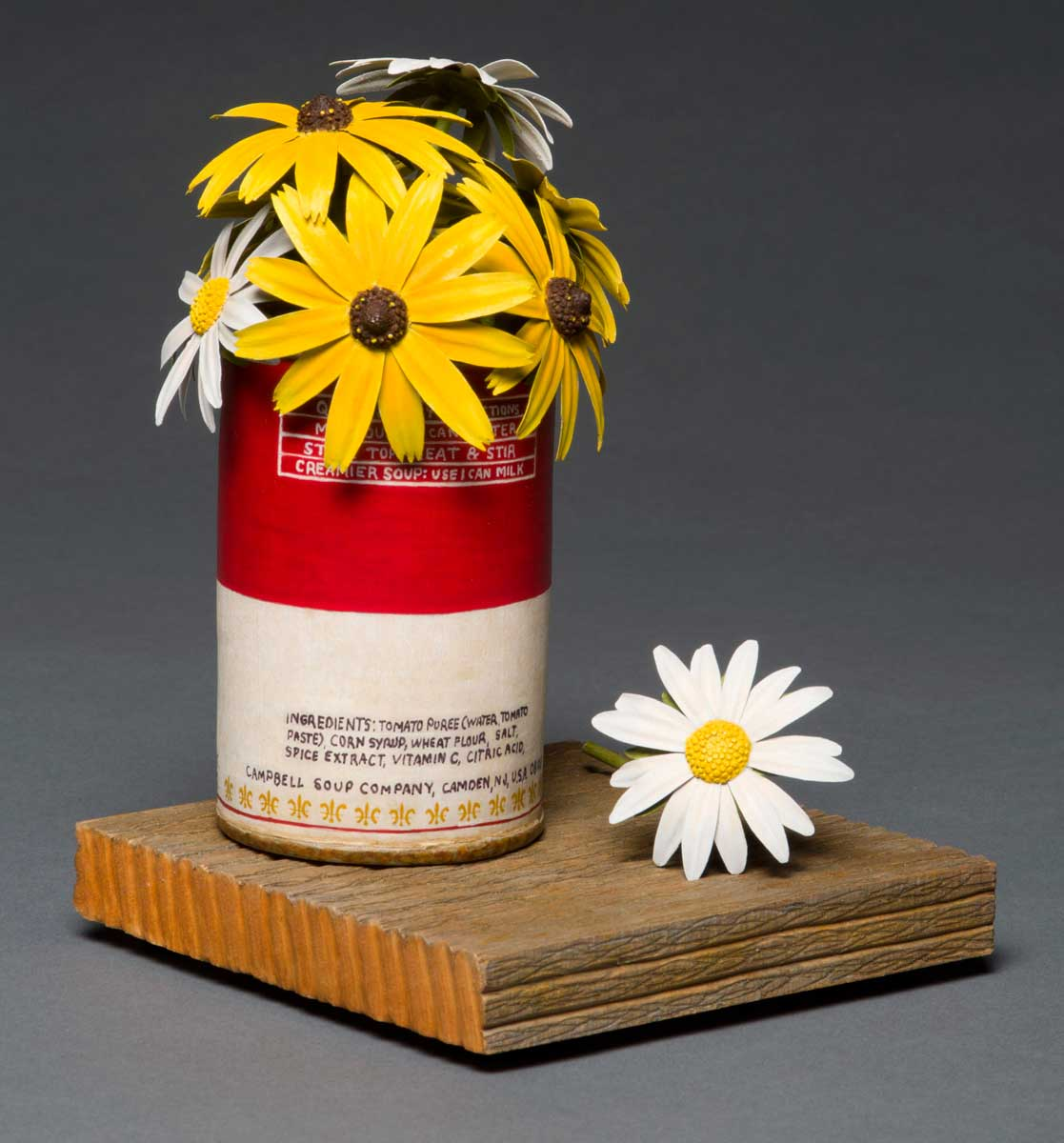 photo of Pete Lupo's Artwork - Back  View of Wildflowers in a Campbell's Tomato soup can