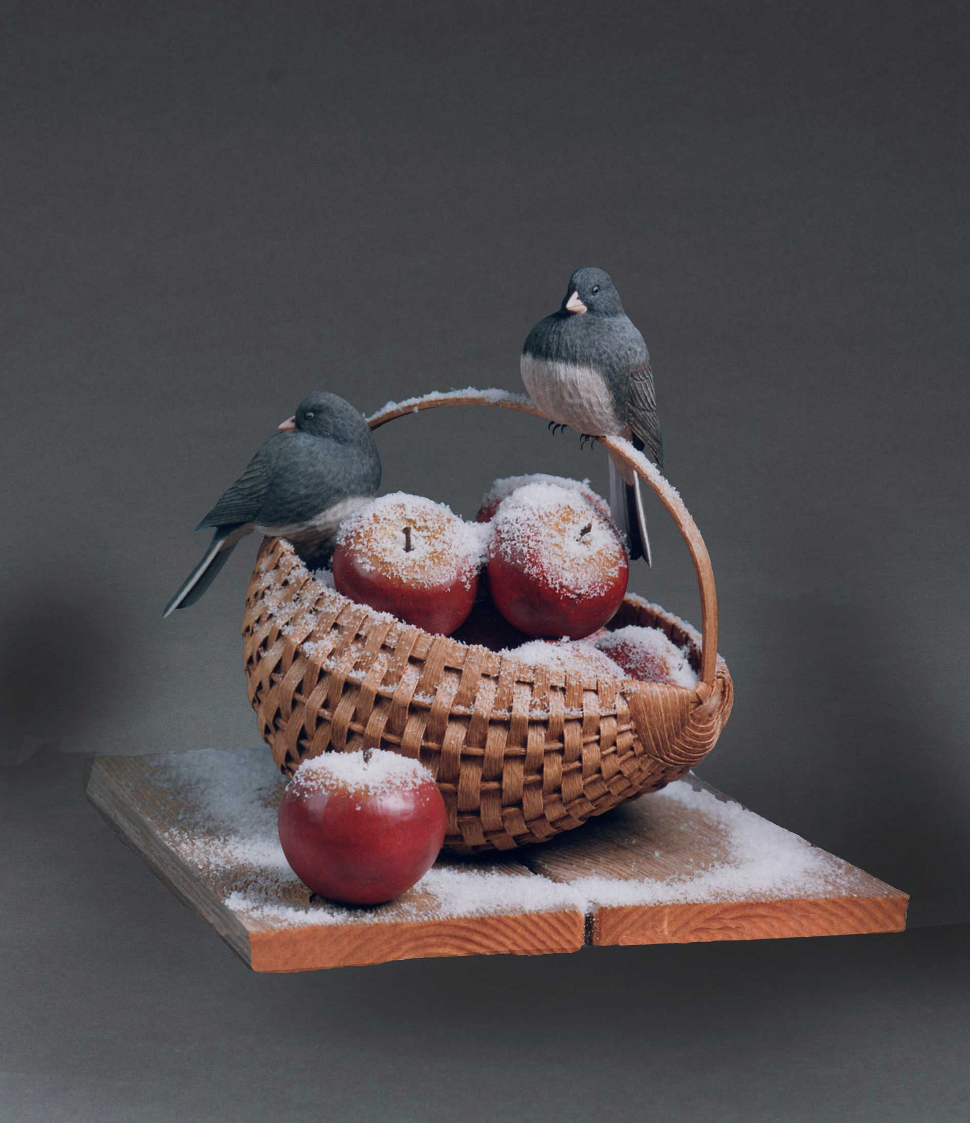 photo of Pete Lupo's Artwork - Junco's and Apples in a snow covered basket