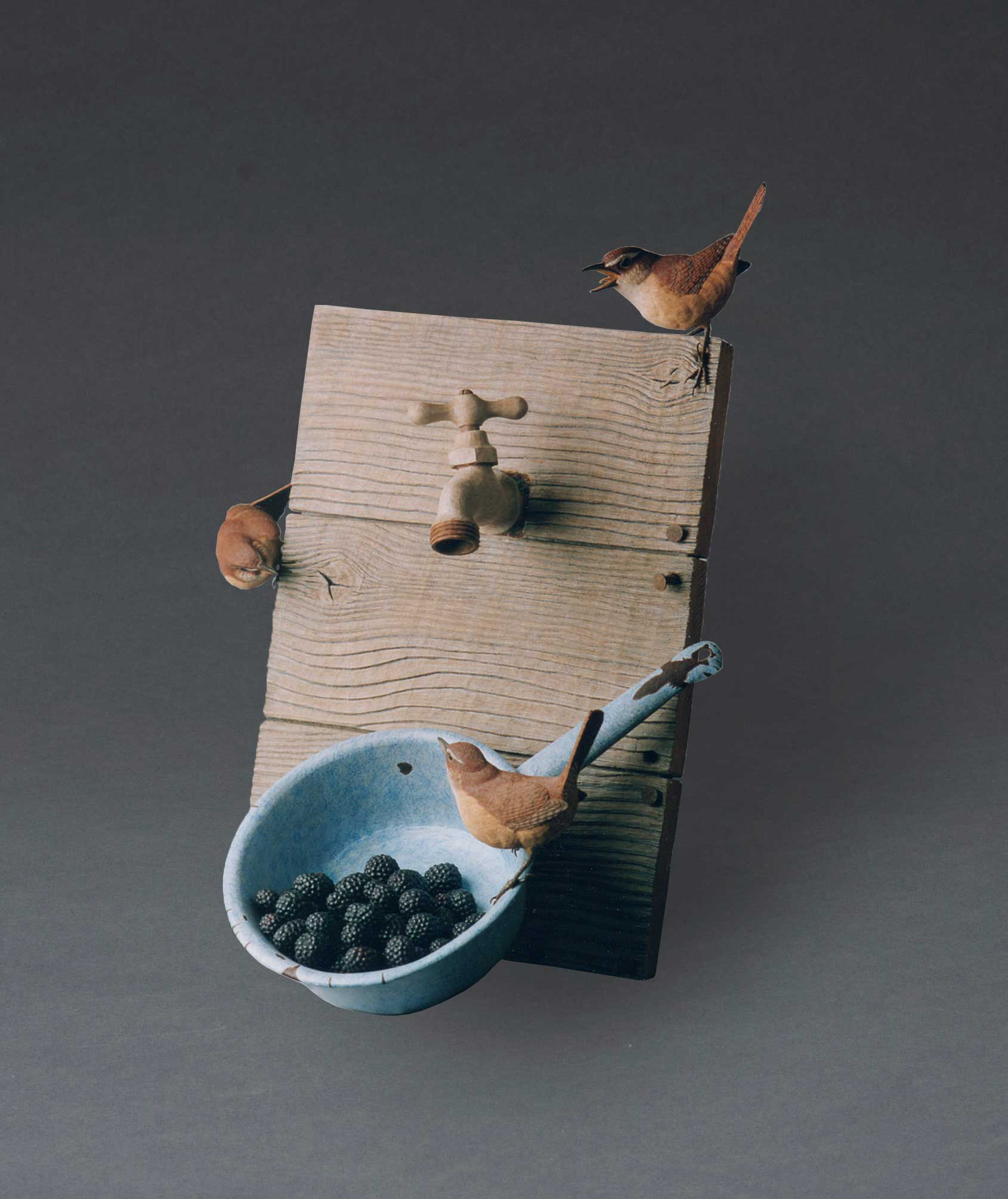 photo of Pete Lupo's Artwork- Carolina Wrens with a cup with berries and water spigot